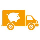 Icono plano camion con cerdo naranja