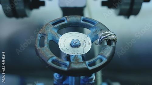 Fotobehang Koraalriffen Industrial gate valves closeup in the factory