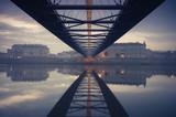 Bernatka footbridge over Vistula river in Krakow early morning