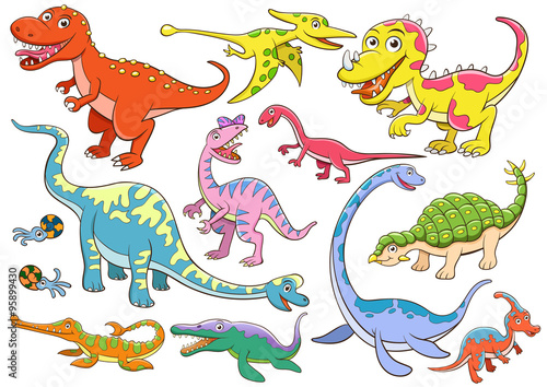 obraz lub plakat illustration of cute dinosaurs cartoon
