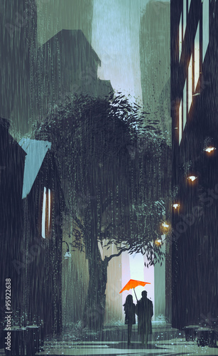 couple with red umbrella walking in raining street at night,illustration painting © grandfailure
