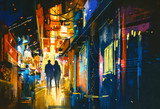 Fototapety couple walking in alley with colorful lights,digital painting