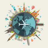 Fototapety Illustration of flat design travel composition with famous world