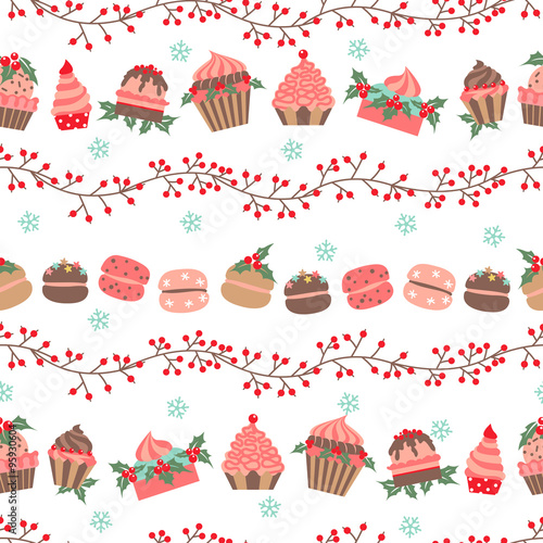 Cotton fabric Christmas and New Year seamless vector pattern
