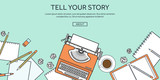 Vector illustration, lined. Flat typewriter. Tell your story. Blogging