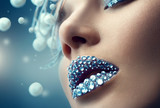 Fototapety Christmas girl. Holiday makeup with gems on lips