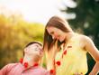 Obrazy na płótnie, fototapety, zdjęcia, fotoobrazy drukowane : Lovers with hearts outdoor