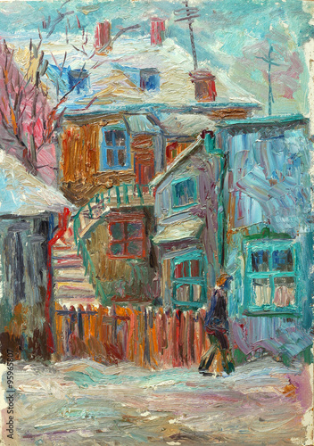 Obraz Beautiful bright colors winter Original Oil Painting ofman walking on the street On Canvas