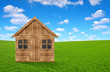 Quadro Wooden house on meadow