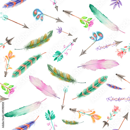 Seamless pattern of colored feathers and romantic arrows painted with watercolors on a white background © nastyasklyarova
