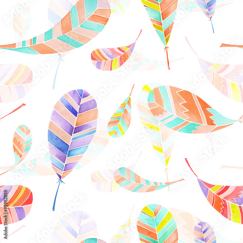 Cotton fabric Seamless pattern of colored abstract feathers painted in watercolor on a white background