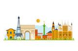 Travel to Europe. French and England landmarks.