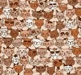 Seamless Pattern / Hintergrundmuster mit handgezeichneten Katzen (farbig)