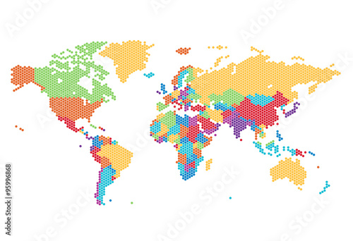 Dotted World map of hexagonal dots плакат