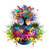 абстрактное Дерево с корнями и бабочками