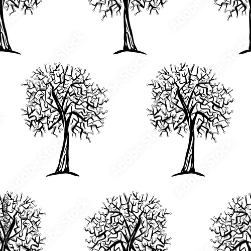 Vector seamless pattern with trees silhouettes © egnismoore