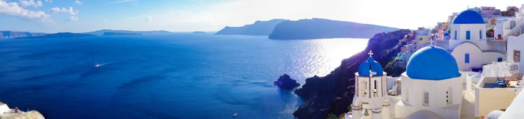 Fototapeta panorama morska nad wioską Santorini Grecja