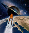 Shuttle rocket ship launch spaceship spacecraft planet earth outer space moon. Elements of this image furnished by NASA.