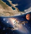 Earth satellite solar system international space station iss moon mars planet. Elements of this image furnished by NASA.