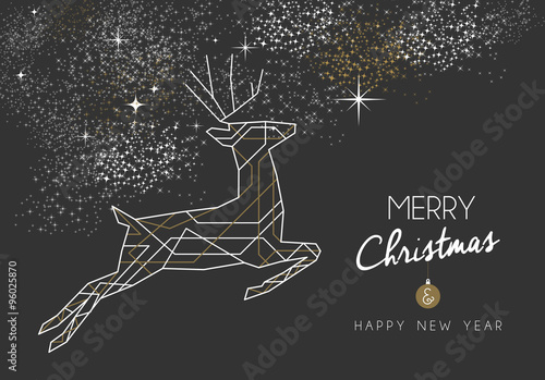 Fotobehang Hipster Hert Merry christmas new year deer art deco outline