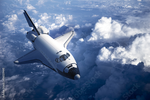 Foto op Canvas Space Shuttle Landing In The Clouds