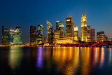 Fototapety Singapore skyline in evening