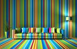 Sofa - bunte Streifen - 96041896