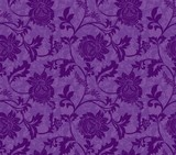 Purple Ornamental Flowers Seamless Pattern