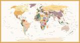 Bardzo szczegółowe Polityczna mapa świata Vintage kolory