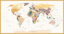 Très détaillées politiques Couleurs Carte du monde Vintage