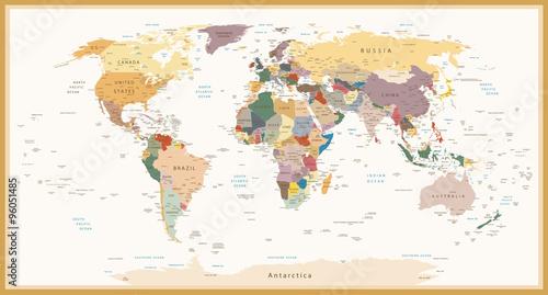 Bardzo Szczegółowa Polityczna Mapa Świata Vintage Kolory