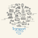 Fototapety Transportation and Vehicles icons