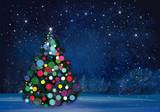 Fototapety Vector Christmas tree on wonderland night background.