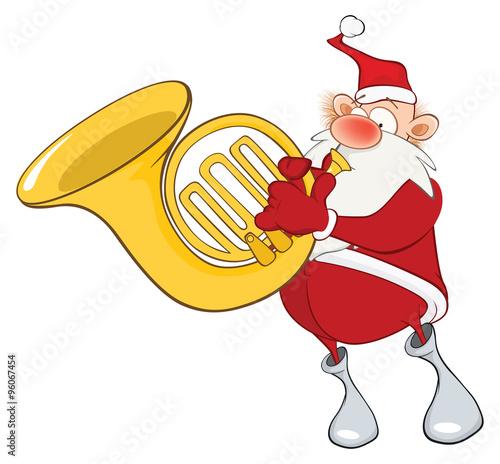 Papiers peints Chambre bébé Illustration of a Cute Santa Claus a Sousaphone Player. Cartoon Character
