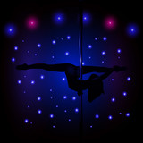 Sexy silhouette illustration of a female stripper in blue