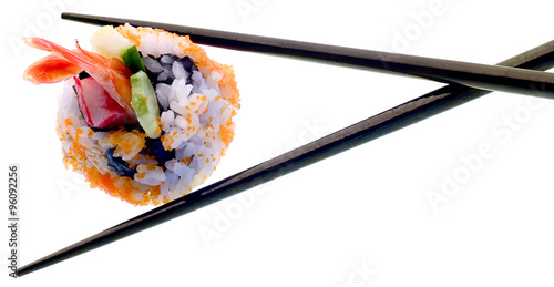 Sushi and chopsticks isolated on white. Poster