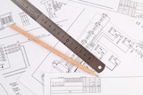 electrical engineering drawings printing, pencil and and ruler