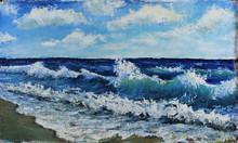 "Постер, картина, фотообои ""Original oil painting seascape, waves of the sea, blue sky, clouds, on canvas. Impasto artwork. Impressionism art."""