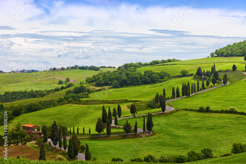 Fototapeta Beautiful landscape of Tuscany with the twisting road and cypresses