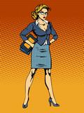Fototapety businesswoman superhero woman vamp
