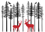 Fir tree forest with reindeer, vector