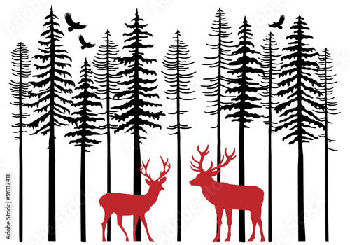 Fototapeta Fir tree forest with reindeer, vector