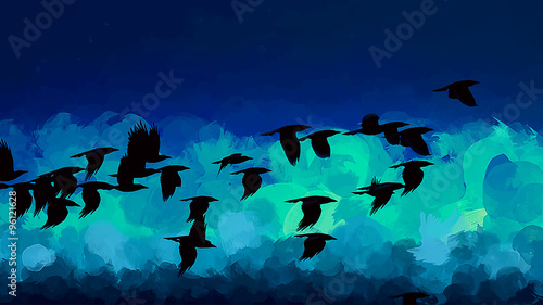 Flying birds brush strokes background - 96121628