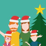 Merry Christmas Family illustration over green color background