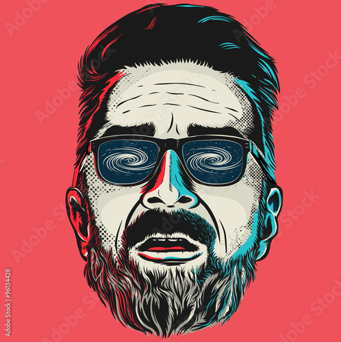 Hand drawn vector face of a hipster man with glasses. - 96134428
