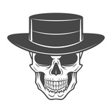 Wild west skull with hat. Smiling rover logo template. Wanted die or alive portrait. High way man t-shirt design