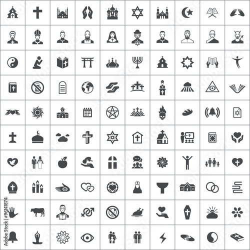religion 100 icons universal set