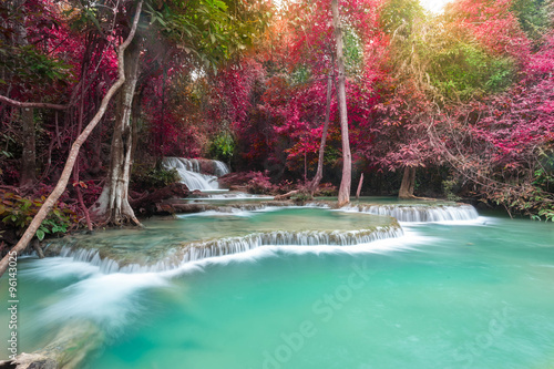 Deep forest waterfall at Huay Mae Kamin waterfall National Park © stnazkul