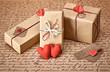 Obrazy na płótnie, fototapety, zdjęcia, fotoobrazy drukowane : Love hearts, Valentines Day. Handcraft gift boxes