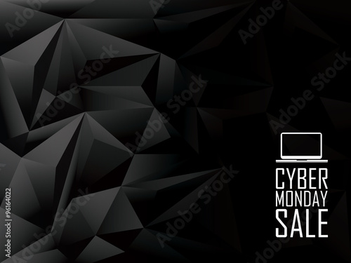Cyber monday sale low poly vector background banner. Laptop icon with text message